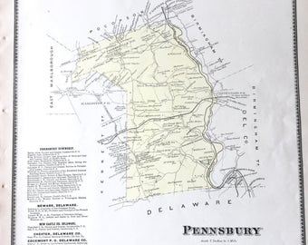 Original 1873 Chester County Pennsylvania Atlas map of Pennsbury Township  Chads Ford fairville parkerville painters Bridge Hand colored