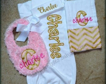 Personalized Baby Gown,Newborn Gown,Baby Girl, Going Home Outfit, Baby Shower Gift,Pink and Gold Chevron,Personalized Gown, Baby Hat,Beanie