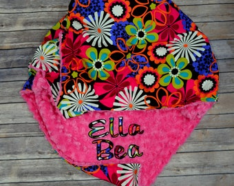 Personalized Baby Girl Blanket, Flower Shower,Hot Pink Minky