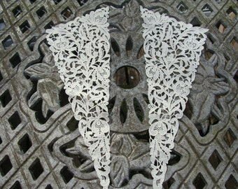 Pair of Vintage Chemical Lace Very Detailed Floral Appliques ... Collars