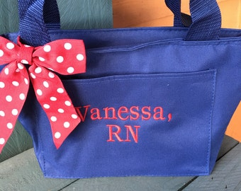 Monogrammed Navy Insulated Womens Lunch Bag Box Cooler Personalized Women