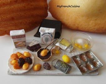 Homemade french madeleines preparation board - 1/12 Handmade miniature food