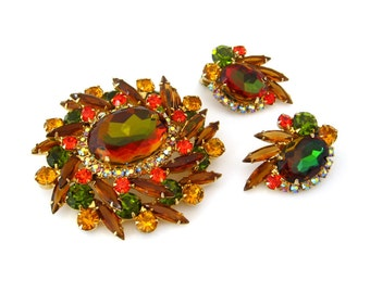 JULIANA Watermelon Brooch Earrings Set • D&E Heliotrope Art Glass Autumn Rhinestone Demi Parure • Vintage 1960s Jewelry