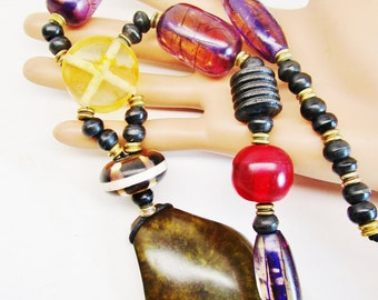 Vintage Ethnic Tribal African Warrior Lucite Translucent Stone Inlaid Beads Metal Accents Colorful Necklace Choker Runway Statement