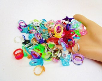 Vintage Lucite Lot 114 Old Plastic Rings All Estate Rings Neon Lime Pink Purple Red Aqua Turquoise Metals Mostly Kids Styles Kitchie Fun