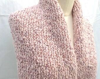 Nubby Textured Tweed Pink Wool Blend Infinity Scarf