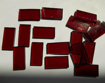"""50 Pieces 1/2"""" x 1"""" Ruby Red Cathedral Stained Glass Mosaic Border Tiles Hand cut"""