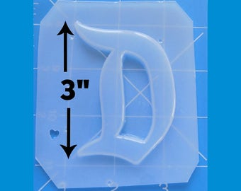 "SALE 3"" Large Retro Letter ""D"" Shape handmade Plastic Mold"