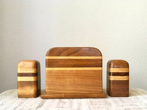 Vintage Danish Salt and Pepper Shakers and Napkin Holder Set, Wood Stripe