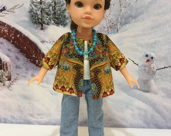 "H4H ""Paisley Lady""  swing jacket, jeans, tube top, and necklace  fits Hearts for Hearts and similiar sized doll"