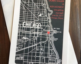 Chicago Map Save the Date, Wedding Invitation, Chicago Custom Wedding Invite