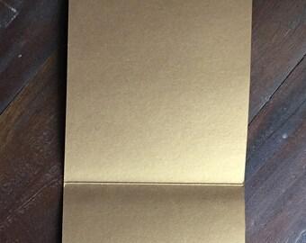 Antique Gold Vertical Pocket Invitation, Pocketfold, Wedding Invitation, Metallic, DIY Wedding Stationery - 15 pcs