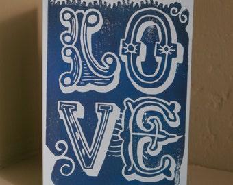 Love Handprinted Linocut Card