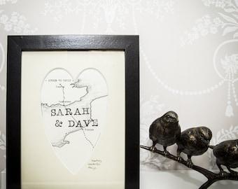 Couples Bespoke Map Heart Print