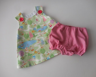 LAST ONE---- 2 piece baby dress and bloomers set children in the park print with red and white bloomers