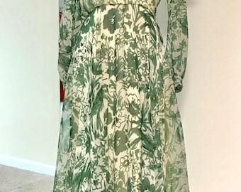 SALE 20% OFF Vintage 1970s Adele Simpson Chiffon Floral Dress