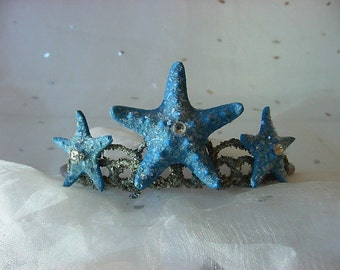 Ocean Blue Mermaid Starfish Tiara Crown for Beach Wedding