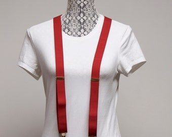 Vintage Men's Red  Clip on Suspenders