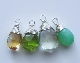 Chrsyoprase Green Amethyst Citrine Peridot Gemstone Sterling Wire Wrapped Charms
