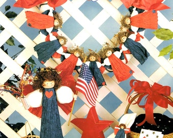 American Angels Red White Blue Paper Ribbon Sculpture Wreath Visor Necklace Centerpiece Craft Pattern Leaflet 15307