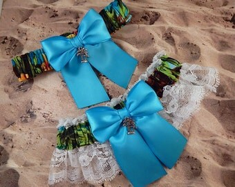 Hawaiian Print Turquoise Ribbon White Lace Palm Tree Bridal Wedding Garter Set Toss
