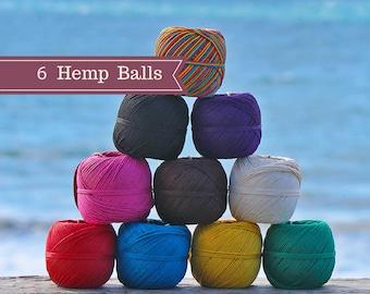 6 Hemp Balls, 1mm, 400 Feet,   Jewelry Cord, Hemp Twine, Macrame, Beading Twine, Bulk Hemp Cord, Choose The Colors