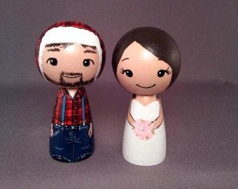Lumberjack Wedding Cake Toppers Brunette kokeshi dolls