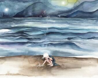 Beach Watercolour 11x14 Print