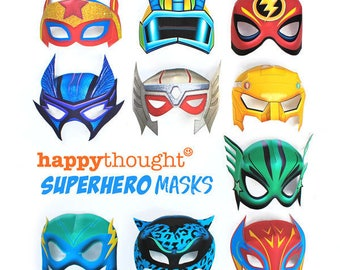 10 printable superhero masks: Includes 10 printable coloring in black and white superhero mask templates to printout & make by Happythought.
