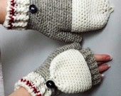 Work Sock Glittens Crochet Pattern Convertible Mittens Gloves Fingerless Wool Bottom Up Ribbed Cuff Button Classic Women's Grey Fun Textured