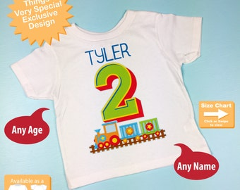 Birthday Boy Shirt - 2nd Birthday Train Shirt, Personalized Boys Second Birthday Shirt with Child's Name and age 01052016g