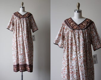 Vintage Indian Cotton Dress - India Tunic Cotton Kaftan Border Print Deadstock Dress L XL - Dash of Nutmeg Dress