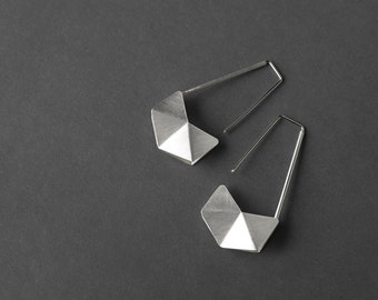 Geometric Silver Earrings, Sterling Silver Hook Earrings, Geometric Drop Earrings, Minimalist Silver Earrings, Statement Silver Earrings
