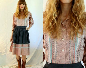 1950s Squaw Dress - Square Dance - Slate Blue and Pink Calico - Skirt Blouse - Small Medium