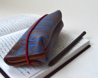 Leather case for pens or glasses (brown leather with blue print)