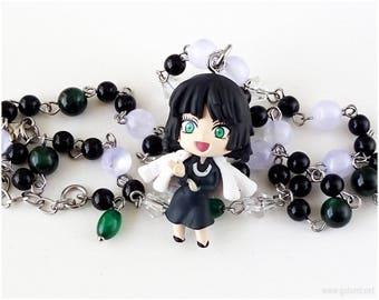 Wanpanman Fubuki Rosary Necklace, Black, Emerald Green, Anime Jewelry, Anime Gifts, Chibi Character