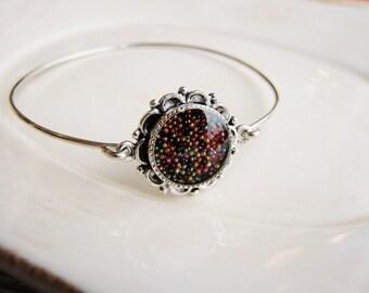 Micro Bead Bangle Bracelet, Resin Jewelry, Stacking Bracelet, Minimalist Bracelet, Stackable Bracelet, Stacking Bangle