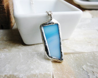 Art Glass Soldered Necklace, Blue Glass Pendant Necklace, Minimalist Jewelry, Soldered Glass Necklace, Silver Necklace