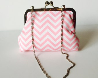 Small Clutch purse with chain Pink Chevron or choose your fabric