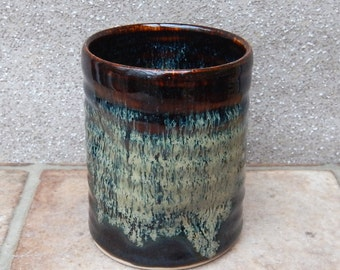 Water or juice beaker, beer tumbler cup hand thrown in stoneware pottery ceramic handmade wheelthrown
