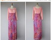 LAST CALL 50% OFF.. Vintage 1970s Maxi Dress   70s Maxi Dress   70s Bohemian Dress   Vintage Maxi Dress   60s Maxi Dress