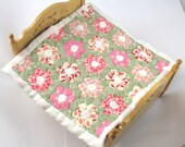Dollhouse Miniature Patchwork Quilt in 12th Scale - Pink and Green