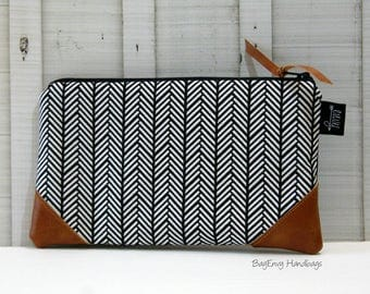 READY To SHIP - Black Herringbone with Vegan Leather - Zippered Clutch / Pouch - Accessory Make Up Bag -