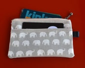 Oilcloth Card Wallet, Coin Purs, ID Wallet, Business Card Case - Matte Finish Elephant