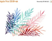 Holiday sale art print Colorful Ferns, modern fern watercolor, fern leaves, tropical art, contemporary art, purple, turquoise, pink,  modern
