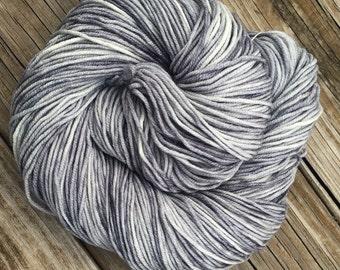 Hand Dyed DK Yarn Pieces of Eight Silver Gray Grey Hand Painted yarn 274 yards handdyed dk sport weight Superwash Merino Wool swm moonlight