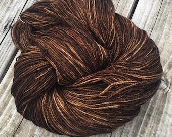 hand dyed sock yarn Walk the Plank Shawl Length Super Skein Superwash Merino Cashmere Nylon MCN 600 yards fingering weight brown mahogany