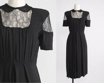1940s black vintage dress with fine lace * b38+ w28 h@40++ * 40s vintage dress 5S929