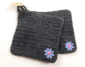 Pot holders felted wool pot holders flower design set of two