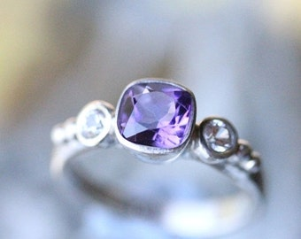 Holidays Sale - Deep Purple Amethyst And White Sapphire Sterling Silver Ring, Gemstone Ring, Three Stones Ring, Engagement Ring, Stacking Ri